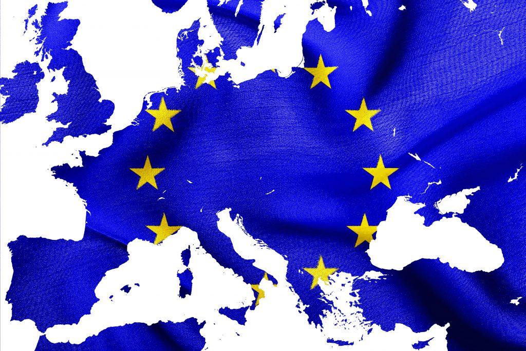 Over ons Kaart van de Europese Unie met vlag van EU